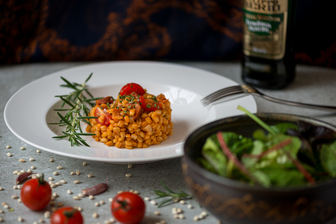 chorizo and tomato pearl barley food envy photography